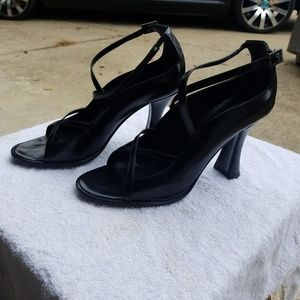 Via Spiga Black Leather Strap Heal Women's Shoes
